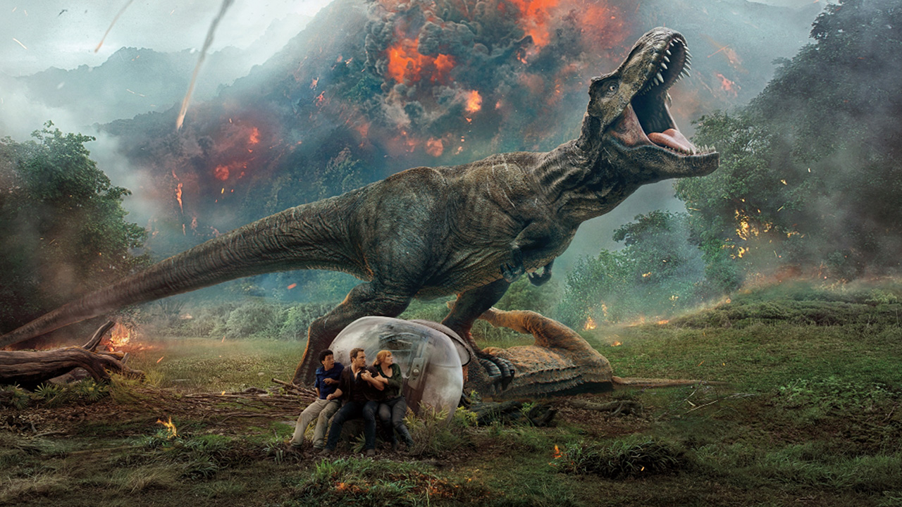 t-rex-standing-over-the-gyroshere-with-erupting-volcano-in-background