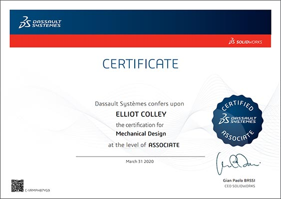 Solidworks-mechanical-design-associate-certificate-Elliot-Colley