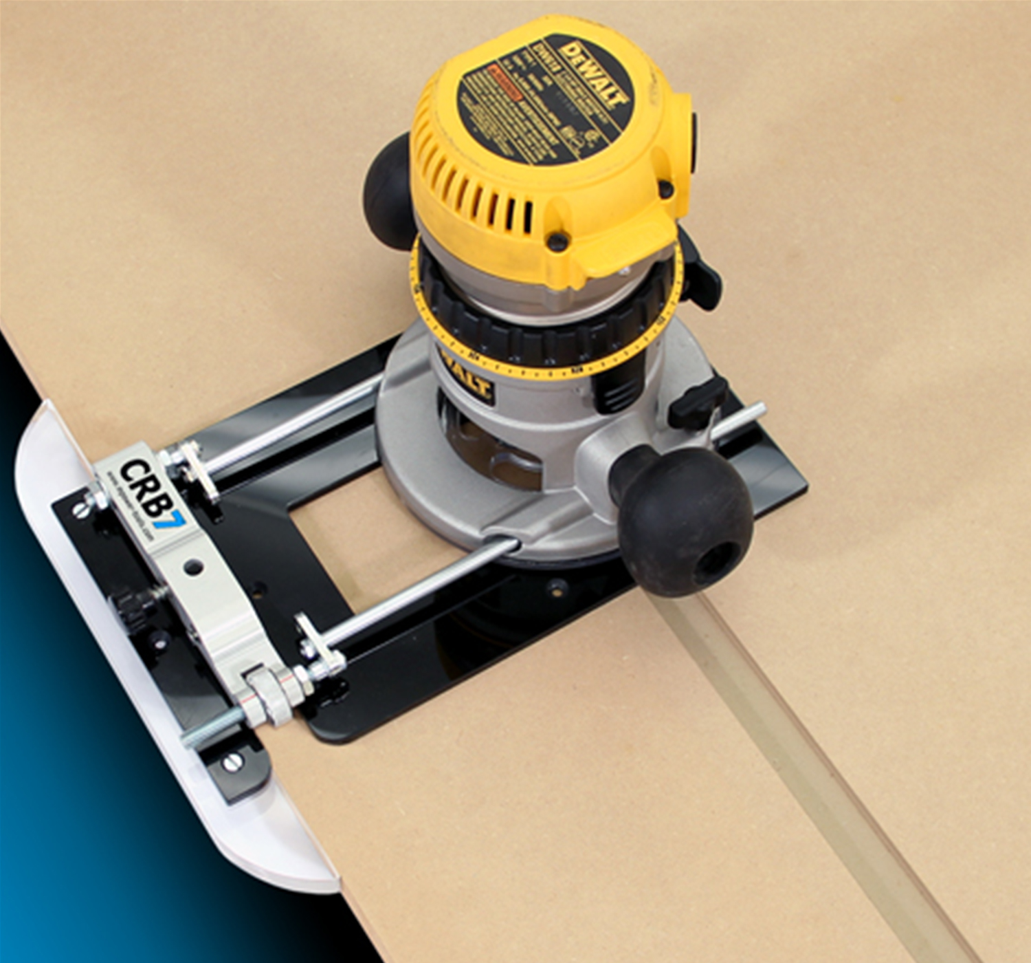 wood-working-tool-clamped-to-router-cutting-channels-into-timber-board