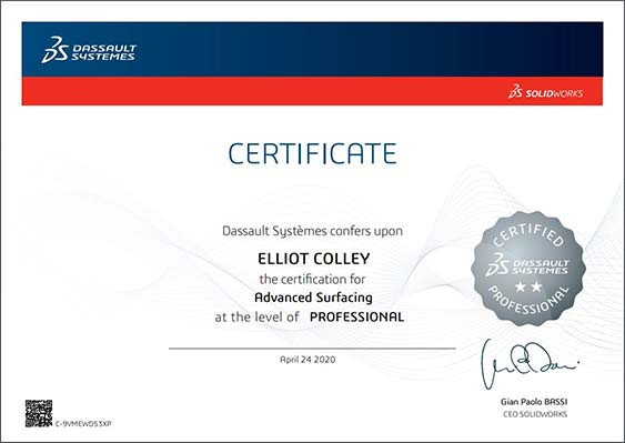 CSWPA-surfaces-Solidworks-Certificate-issued-to-elliot-colley