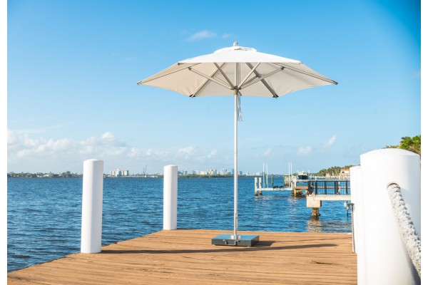 White-aluminium-extruded-parasol-design-at-end-of-pier-photoshoot